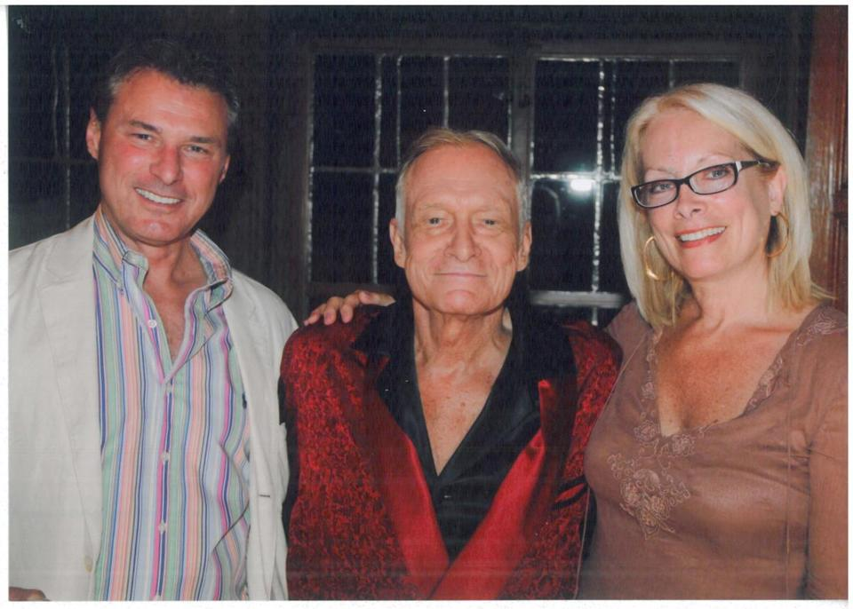 Joy Tarbell and her​ husband​, ​Eddie Minyard​,​ ​with Hugh Hefner at the Playboy Mansion in LA.